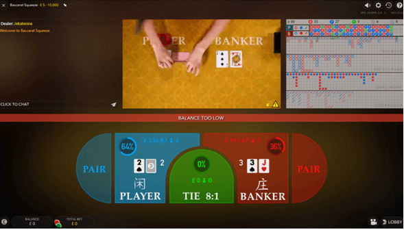 Live Baccarat from different camera angles