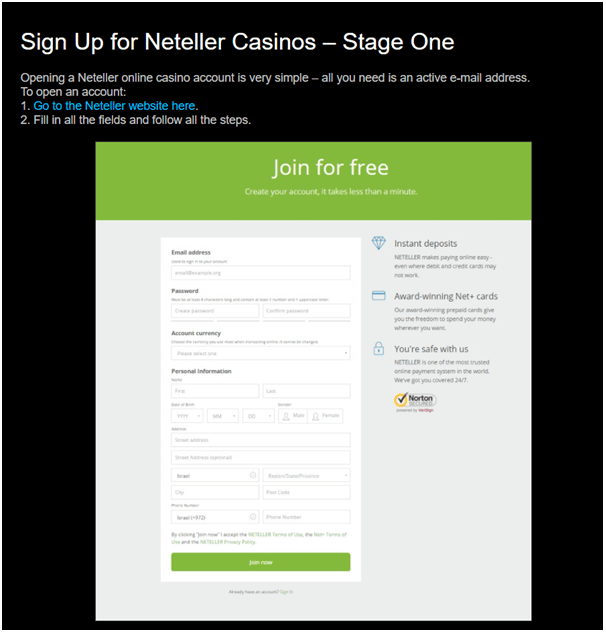 Setting up Neteller account at online casino