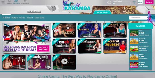 Casino and Live Casino on Karamba