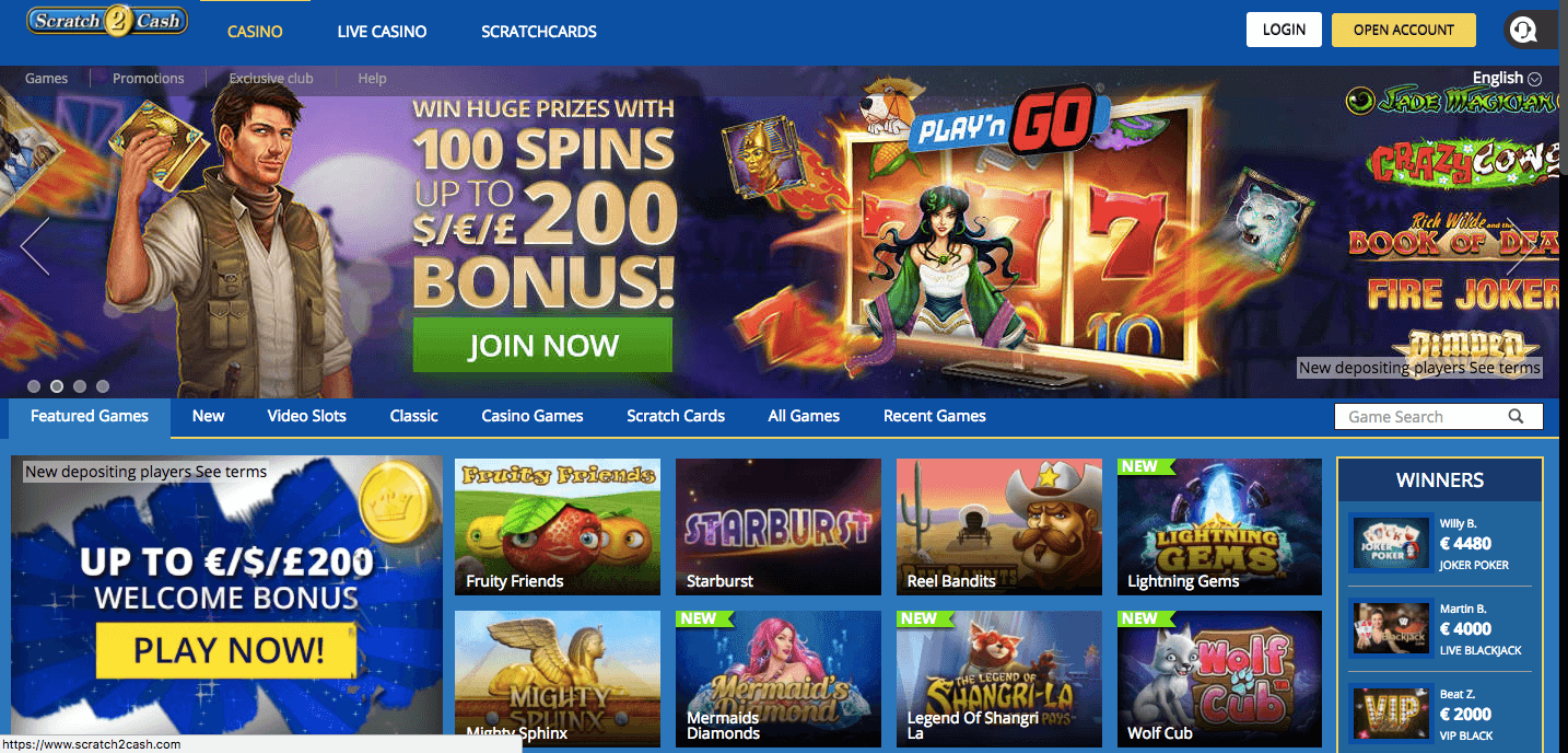 Scratch2Cash Online Casino UK
