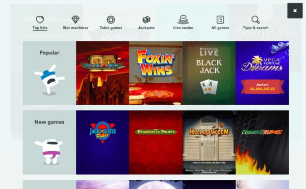 Casumo Online Casino, Games Page