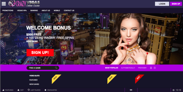 Crazy Vegas, a Great Online Casino