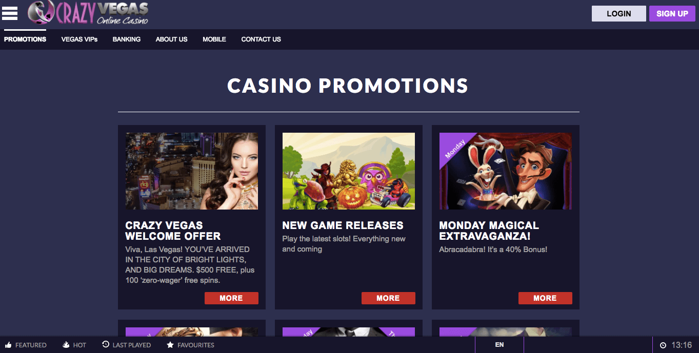 Crazy Vegas Online Casino Review 2017