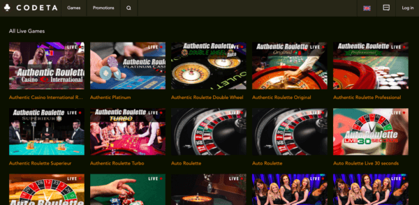 More than 70 live casino games