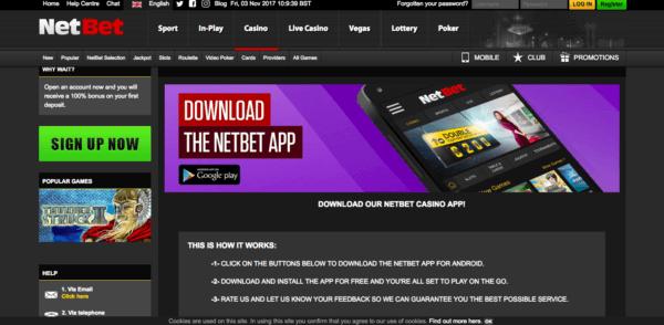 A Netbet mobile app