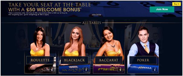 William Hill Casino UK Live casino bonus