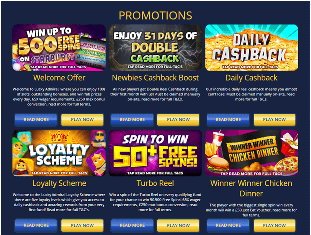 No Deposits, Cashback, Loyalty and luxury offers in Lucky Admiral casino UK